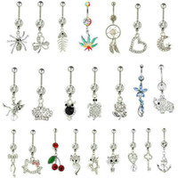 Wholesale Christmas Silver Bell Gift - Hot Sale Gem Mixed Designs Belly Button Rings 316L Stainless Steel Navel Rings Piercing Dangle Belly Rings Navel Bar Body Jewelry Gift 12PCS