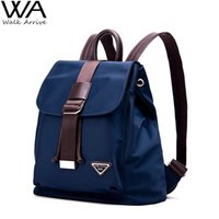 Wholesale Shoulder Strap Bag Leather - Luggage Bags Backpacks High Quality Nylon Women Backpack Fashion Girls School Bag Travel Bag, with Genuine Leather Shoulder Straps