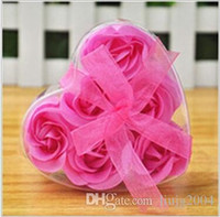 Wholesale 6 set High Quality Mix Colors Heart Shaped Rose Soap Flower For Romantic Bath Soap Valentines Gift Six Pieces In One Box