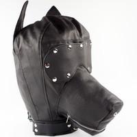 Wholesale Dog Mask Bondage - Ultimate Leather Dog Hood Leather Head Harness Master Slave Role Play Muzzles Bondage SM Set