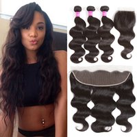 Wholesale Ombre Wavy - Brazilian Virgin Hair Bundles with Closure Wet and Wavy Straight Remy Human Hair 3 bundles with frontal closure or 4x4 Top Weaves Closure