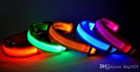 Wholesale Dog Led Battery - LED Dog Collar Night Safety Nylon LED Flashing Glow Pet Collars With Battery free shipping