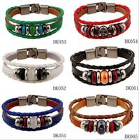 Wholesale Multi Color Beaded Bracelets - 2016 Fashion jewelry Hand woven multi color Genuine Leather Bracelet Couple Bracelet Foreign trade jewelry 6color