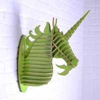 Wholesale Mdf Decorations - 3D Unicorn head home decor,wooden art,wood craft,carved wall hanging,living room wall decoration,MDF interior decor deocraions
