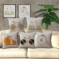 Wholesale Bike Chair - Simple Cotton Linen Fruit Bike Pattern 18X18 inches Pillowcase Chair Waist Throw Pillow Cover Home Decoration BY DHL 240451