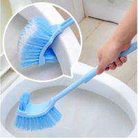Wholesale Toilets Brushes - Wholesale-Plastic Long Handle Bathroom Toilet Bowl Scrub Double Side Cleaning Brush