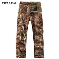 2017 nerw Shark Skin Soft Shell Outdoors Tactical Military Camuflagem Calças Men Army Waterproof Thermal Camo Hunt Hike Fleece Pants