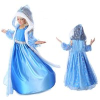 Wholesale Princess Hooded Cape - Snow Queen Costume Christmas Halloween Cosplay Dress Princess Dresses With Hooded Cape Girl Dresses DHL C2939