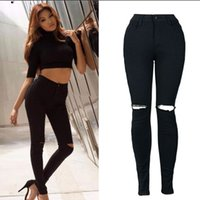 Wholesale 2017 New Skinny Jeans Black Mid Waist Pants Slim Pencil Pants Stretch Holes Denim Jeans ladyies Trousers