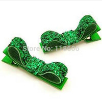 Wholesale Green Snap Clips - 200pcs Free Shipping Fuchsia green Baby Hair Clips, Mini Snap Clips, Glitter Hair Clip kids tiara burlap flowers baby headbands girl