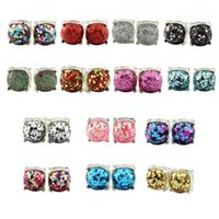 Wholesale galaxy costume - Christmas Gift Kate Style Galaxy Glitter Stud Earrings for Women Costume Jewelry New York Silver Plating Glitter Square Studs Earrings