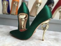 Wholesale Champagne High Heel Wedding Shoes - burgundy silver gold champagne grey blue green satin bridal wedding shoes with baroque heel pump evening party prom shoes