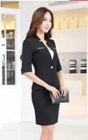 Wholesale Ol Small Suit - Summer New Fashion Half Sleeve Short Sleeve Business attire Set Slim OL Suit Overalls Women's Small Suit Size S-3XL