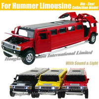 ingrosso hummer metal-Modello in scala 1:32 in lega di metallo pressofuso per modello Hummer Limousine Luxury Truck Collection Tirare indietro giocattoli auto con SoundLight