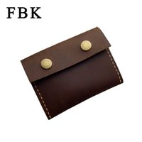 Vente en gros - FBK Crazy Horse Leather Craft Handmade Fashion Vintage Classique Grande capacité Coin Purse Change Wallet Business Card Holders