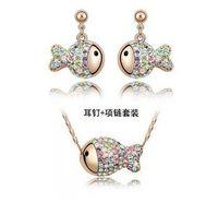 Wholesale Clown Earrings - Lovely Clown Fish Necklace Earrings Austria Crystal Set Silver Plated Jewelry Earrings Colorful Diamond Jewelry Set
