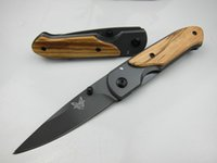 Wholesale titanium folding pocket knife - Special offer Butterfly DA44 survival Pocket folding knife Wood handle Titanium finish Blade tactical knife EDC Pocket knife knives