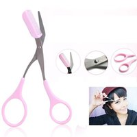 Wholesale New Eyebrow Comb Scissors Lady Girl Makeup Hair Comb Women Eyelash Scissors Tools Trimmer Eyebrow Beauty Tool Artifacts