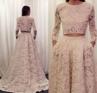 Wholesale Cheap Nude Formal Dresses - Two Pieces Arabic Evening Dresses 2016 Long Sleeves Cheap Designer Lace Women Formal Occasion Wear Jewel Neck Sweep Train Prom Party Gowns