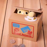 Wholesale Cat Piggy Box - Stealing Cat Coin Bank Money Saving Box Piggy Bank Funny Cute Hungry Robotic Cat Piggy Bank Creative Gift For Kids