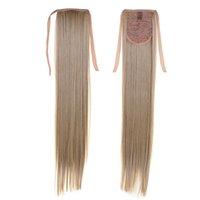 блондинка хвостики drawstring оптовых-Длинные светлые волосы синтетический длинный хвост 22 дюймов 55 см 100 г # 16 Бесплатная доставка прямые хвост хвосты для Америки дамы шнурок