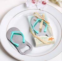 Wholesale Blue Wedding Flip Flops - Creative Beach Flip-Flop Shoes Shape Opener Beer Bottle Opener With Gift Box Wedding Favor Wedding Gifts JF-58