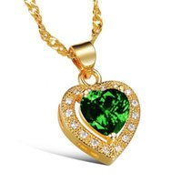 Wholesale Necklaces Yellow Stone - Fashion Sexy Collarbone Short Necklace For Women Heart Design White Green Crystal Stone Gold Plated Jewelry Pendant 621