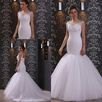 Wholesale Wedding Dress Mermaid Cut - Cheap High Quality Trumpet Wedding Dresses 2016 Lace Tulle Sheer Bateau Neck Cut Out Zipper Back Fit and Flare Bridal Gowns Sweep Train