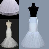 Wholesale Trumpet Gown Wedding Petticoats - Mermaid White Petticoats slip 1 Hoop Bone Girls Wedding Dress Crinoline Bridal Gown Cheap Best Petticoats