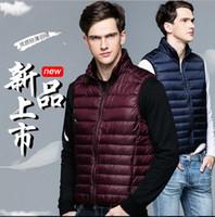 Wholesale Down Vest Coat Men - Men Down Vest Ultra-light Sport White Duck Down Waistcoat Fashion Sleeveless Coats Slim Portable Stand Collar Autumn Winter 8 Colors