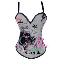 e0c6a13c60cba Toptan-Sıcak Vücut Şekillendirici Aslan Hayvan Baskılı Kadın Pin Up Korse  Sapanlar Büstiyer Burlesque Gri Kemikli Seksi Korse Corseletes S-2XL Tops