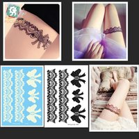 Wholesale Tattoos Lace Designs - Wholesale- LS602 New 2016 high quality temporary big sexy black White lace bow-tie design hena tattoo sticker for body leg