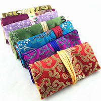 Wholesale Silk Travel Jewelry Rolls - Portable Jade Silk Brocade Pouches Bag with Zip Travel Storage Jewelry Roll Up Clutch Bag Ladies Fashion Cosmetic Make up Storage Bag 10pcs