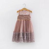 Wholesale Summer Cotton Lace Dresses Gauze - 2016 Summer Girl Dress Lace Gauze Sleeveless Dress Girl Princess Party Sundress Children Clothing 3-7Y QZ211