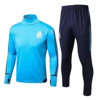 Wholesale Men S Slim Suits Sale - Top quality Marseille Training suit kit long sleeve 2017 2018 Marseille soccer jersey Training uniform 17 18 football uniform +pants Sales
