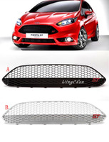 Wholesale Ford Front Bumpers - 92*22cm ABS black silver painting racing car front bumper Grill for Ford new Fiesta 2013 2014 2015 with ST logo
