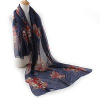 Wholesale Lightweight Fashion Scarves - Women Lady Chiffon Soft Summer Shawl Wrap Floral Dream Flower Print Lightweight Scarf Neck Scarf Voile Scarves Various Colors