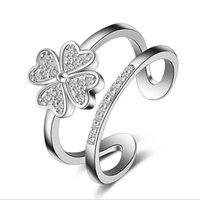 Wholesale Open Clover - 2016 NEW 925 Sterling Silver Open Rings with Crystal Four Leaf Clover Heart Flower Finger Rings for women Girl