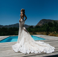 Wholesale Cheap Pocket Trumpet - Sexy Lace Backless Mermaid Wedding Dresses with Pockets 2016 Cheap Illusion Deep V Neck Long Chapel Trains Beach Bridal Gowns