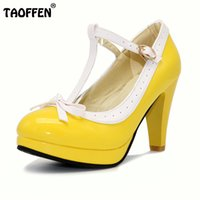Wholesale Women Daily Work Dress - TAOFFEN Plus Size 32-48 Women Summer high heels shoes Woman t-strap bowknot pumps lady platform daily work dress Footwear
