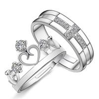 ring lovers man venda por atacado-1 Par Prateado Príncipe Princesa Coroa CZ Cristal Promise Anel Set Par Anéis Casal Para As Mulheres Homens Amantes Frete Grátis