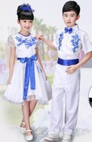 Wholesale Porcelain Dancing - Children blue and white porcelain performance clothing primary and secondary school students chorus   performance   dance clothing