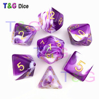 Wholesale dungeons dragons dice online - Transparent Purple White Color Dice D4 D20 For Dungeons and Dragons Game