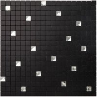 Wholesale Stickers For Walls China - Black Self Adhesive Aluminium Plastic Panel tiles, Metal mix diamond glass mosaic tiles sticker perfect for home from China, LSB06 24