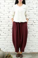 Wholesale Elegant High Waist Trousers - Baggy Vintage Pants Women High Waist Wide Leg Pants Plus Size 2017 Linen Pants Female Summer Elegant Womens Trousers Casual Women Clothing