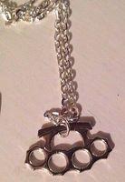 "Wholesale Silver Biker Necklace - Silver Mini Knuckle Duster Necklace 18"" Chain Kitch Punk Biker Metal Goth Emo"