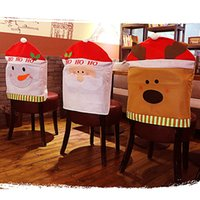 Wholesale High Chair Cover Patterns - Free Shipping New Creative Christmas Chair Cover 3 Patterns Santa Claus  Elk  Snowman Xmas Home Deco Christmas Decorations Free Shipping