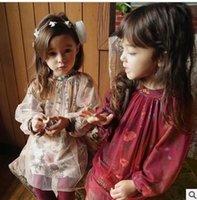 Wholesale Girls Transparent Dress - Girls dresses elegant Kids printed long sleeve A-line dress Autumn Children Transparent yarn floral dress Leisure Children Clothing C1815