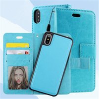 Wholesale Magnet Photo - 2 in 1 Wallet Leather Case Magnetic Magnet Cases Cover Pouch with Card Slot Photo Frame For iPhone X 8 7 6 6S Plus 5 Sumsung S8 Plus Note8