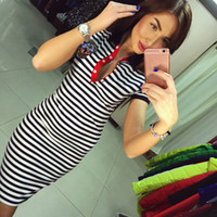 Wholesale Cheap European Clothes - 2016 European Stripe Package Buttocks Self-cultivation Mini- Chiffon Dress Short Sleeve Bodycon Summer Cheap Dresses For Womens Clothing Lad